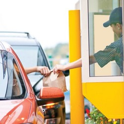 Drive Thru / speed service and bust lines with pay-at-the-window efficiency